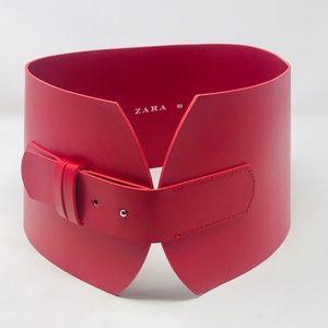 Zara Red Wide Faux Vegan Leather Belt